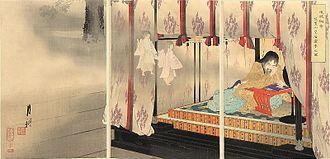 Emperor Go-Daigo - Woodblock print triptych by Ogata Gekkō; Emperor Go-Daigo dreams of ghosts at his palace in Kasagiyama