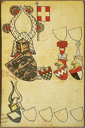 Flag of Denmark -  Gelre Armorial (fol. 55v), the entry for the king of Denmark showing the white-on-red cross banner.