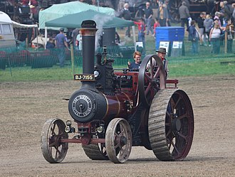 Traction engine - A typical preserved traction engine: 1909 Burrell 6 nhp general purpose engine, at Great Dorset Steam Fair in 2018.