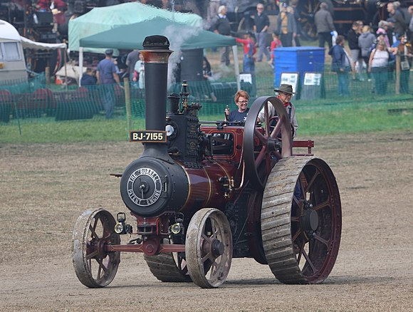A typical preserved traction engine: 1909 Burrell 6nhp (nominal) general purpose engine, at Great Dorset Steam Fair in 2018
