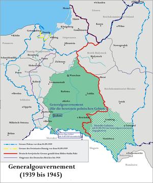 Lage des Generalgouvernements (Distrikt Galizien schraffiert)