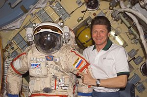 Gennady Padalka - Padalka with his Orlan spacesuit in the Pirs Docking Compartment.