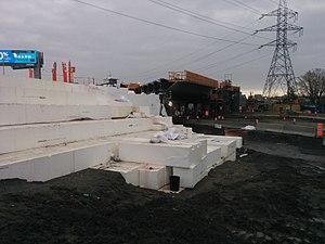 Geofoam - Geofoam is used as core filling inside of a car bridge near Montreal