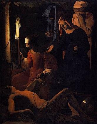 Saint Sebastian Tended by Saint Irene (Georges de La Tour, Louvre) - Image: Georges de La Tour St Sebastien Attended by St Irene WGA12342