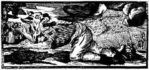 1722 German woodcut of a werewolf transforming.