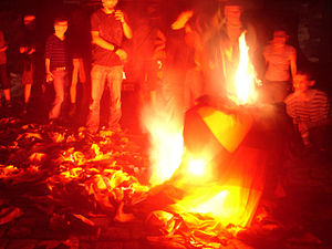 Flag desecration - German flags being burned during a protest in Nuremberg, 2006.
