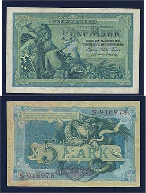 German gold mark - Germany 5 Mark 1904 Art Nouveau Banknote, designed by Alexander Zick