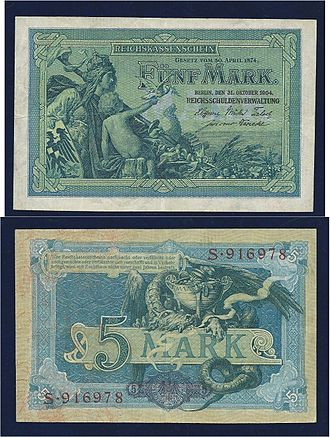 German gold mark - German 5-mark 1904 Art Nouveau banknote, designed by Alexander Zick
