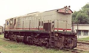 Transport in Ghana - Ghana Railways Engine No. 1670 in Kumasi, June 2005