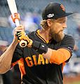 Giants outfielder Hunter Pence works out before the 2016 NL Wild Card Game.jpg