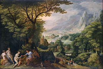 Gillis van Coninxloo - Landscape with the Judgement of Paris, in Mannerist world landscape style.