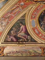 Allegory of Arezzo; to the bottom, view of Florence