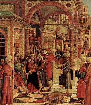 Giovanni di Niccolò Mansueti - The Arrest of St. Mark from the Synagogue, 1499; Fürstlich Gemäldegalerie, Liechtenstein Museum.
