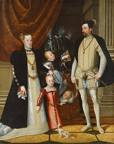 Maximilian II, Holy Roman Emperor and his wife Infanta Maria of Spain with their children Giuseppe Arcimboldi 003.jpg