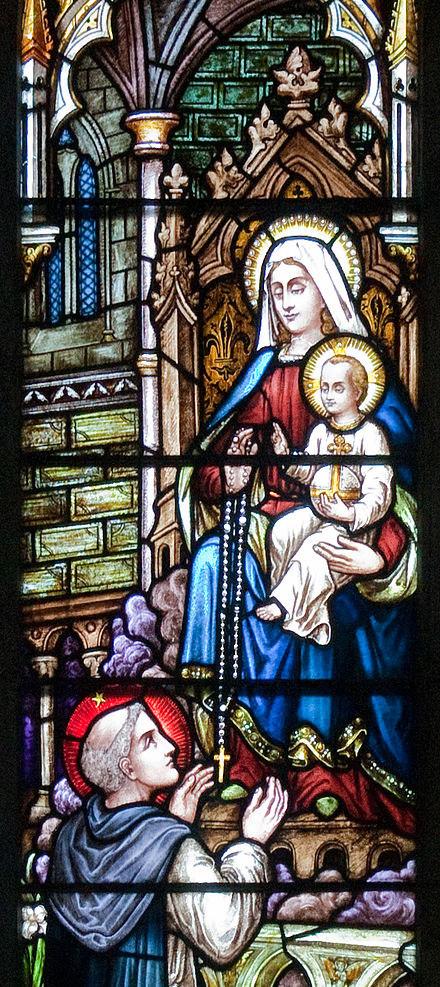 """St Dominic Receives the Rosary from the Virgin Mary"", Glengarriff Church of the Sacred Heart Glengarriff Church of the Sacred Heart Right East Window St Dominic Receives the Rosary from the Virgin Mary Detail 2009 09 08.jpg"