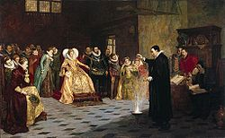 Glindoni John Dee performing an experiment before Queen Elizabeth I.jpg