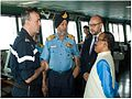 Goa Chief Minister Laxmikant Parsekar and Vice Admiral SPS Cheema on board FNS Charles De Gaulle.jpg