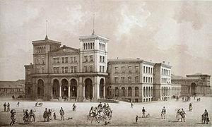 """Berlin Görlitzer Bahnhof - """"Empfangsgebäude des Görlitzer Bahnhofes in Berlin"""" an 1872 painting depicting the station entrance hall"""