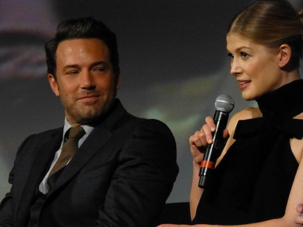Affleck and Pike at the film's premiere Gone Girl Premiere at the 52nd New York Film Festival P1070699 (15347929316).jpg