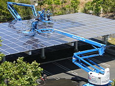 Solar panels being cleaned at Googleplex, Mountain View, California