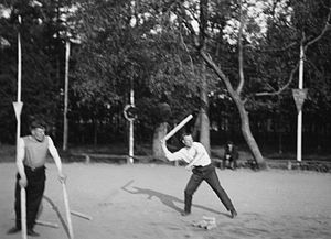 Gorodki -  Two men playing gorodki, Moscow, USSR, 1935