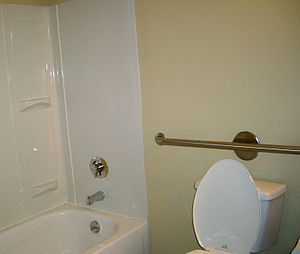 Photograph of a bathroom with toilet, shower, ...