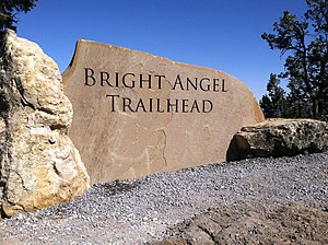 Grand Canyon Association - The new Bright Angel Trailhead sign, installed as part of the renovations.