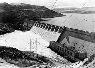 Grand Coulee Dam - The dam after completion and water over-topping the spillway