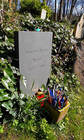 Douglas Adams - Adams's gravestone, Highgate Cemetery, North London