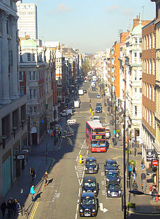Great Portland Street street in the West End of London, England
