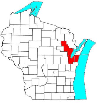 Green Bay metropolitan area - Location of the Green Bay Metropolitan Statistical Area in Wisconsin