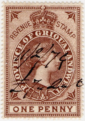 Griqualand West - A one penny 1879 revenue stamp of Griqualand West.
