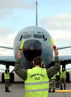 Ground crew with a C-135FR