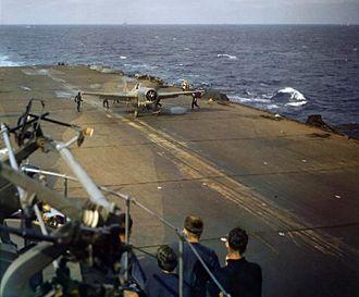HMS Formidable (67) - A Martlet on the flight deck, November 1942