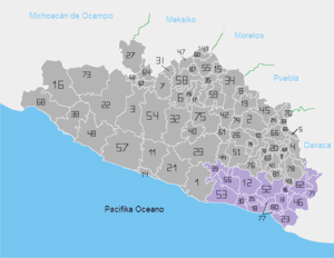 Costa Chica of Guerrero - Location of the Costa Chica region in Guerrero