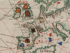 History of geomagnetism - Image: Guillaume Brouscon. World chart, which includes America and a large Terra Java (Australia). HM 46. PORTOLAN ATLAS and NAUTICAL ALMANAC. France, 1543.C