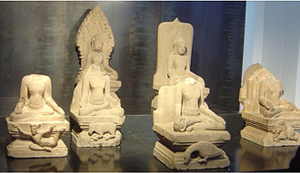 Guardians of the directions - Dikpala, Cham civilization, Mỹ Sơn, Vietnam 10th century. (l-r) Nairṛta, Agni, Varuna, Indra (front), Kubera and Isan (back row)