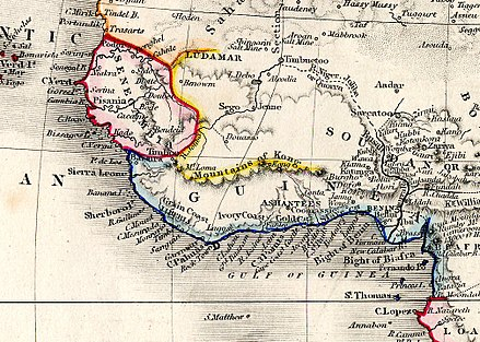 An 1850 map showing the Akan Kingdom of Ashanti within the Guinea region and surrounding regions in West Africa Guinea from Milner's Atlas.jpg