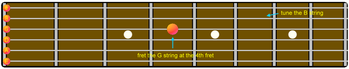Guitar Four-Five Method Tuning B string to G string Step 4.png