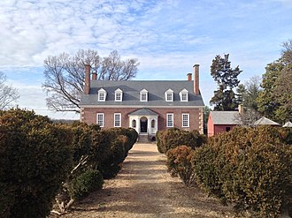 Gunston Hall - Gunston Hall in 2014, seen from the river side looking through the garden