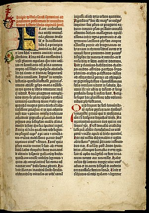 History of Western typography - First page of the first volume of the Gutenberg Bible, printed with an early textur typeface c. 1455. In this copy the decorative colored initials were hand-lettered separately by a scribe.