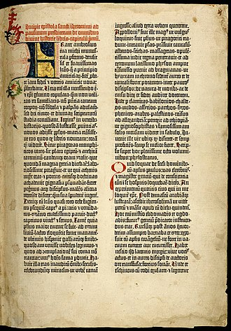 Gutenberg Bible - First page of the first volume: The Epistle of St. Jerome from the University of Texas copy. The page has 40 lines.