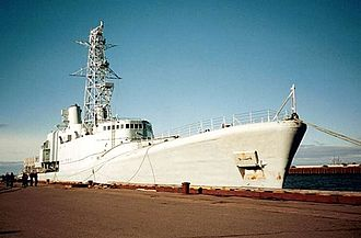 Annapolis-class destroyer - Nipigon awaiting her fate in Rimouski harbour