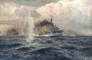 HMS Lion was the flagship of Rear Admiral David Beatty during the Battle of Dogger Bank on 24 January 1915. Art.IWMART5205.jpg