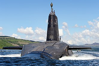 Trident nuclear programme - A Trident missile-armed ''Vanguard''-class ballistic missile submarine leaving its base at HMNB Clyde