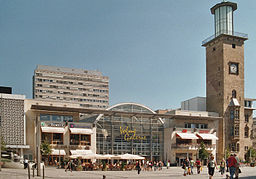 Hagen, Friedrich Ebert square with town hall tower and Volme shopping mall