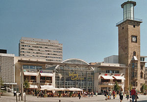 Hagen - Old Town Hall (right) and Square. In the center the Volme Galerie (City Mall).