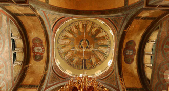Dome of Hagia Sophia, Thessaloniki (8th century), one of the 15 UNESCO's Paleochristian and Byzantine monuments of the city Hagia Sophia Dome.png