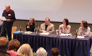 Claudia Roden - Claudia Roden (right) and Paul Levy (centre) among panellists at the Oxford Symposium, 2006