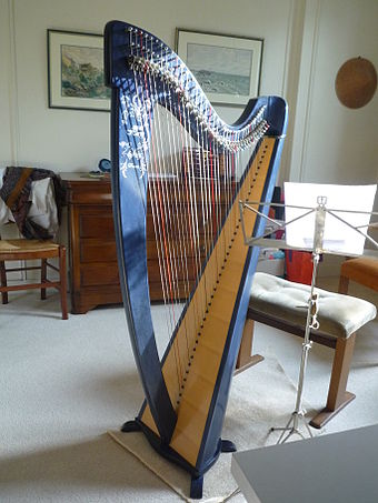 Photo d'une harpe celtique moderne.